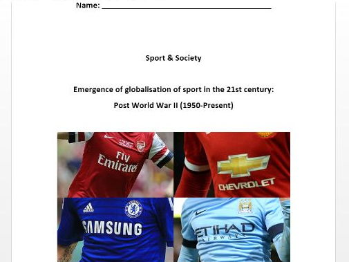 AQA PE New A Level. Sport & Society - Post World War II (1950 - Present) Pupil Workbook.