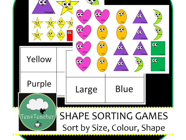3 Shape Sorting Games using Cute and Colourful Shapes - Recognise Shapes, Names & Categories Kids