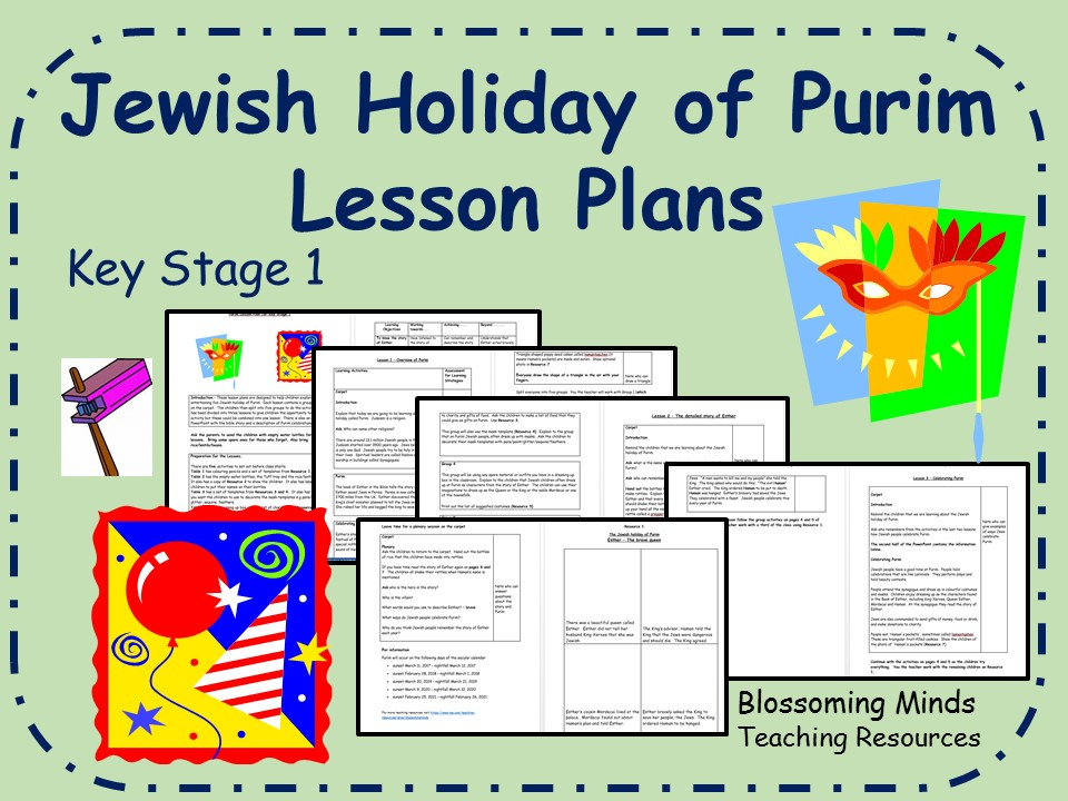 Jewish holiday of Purim - 3 Lesson Plans - Key Stage 1