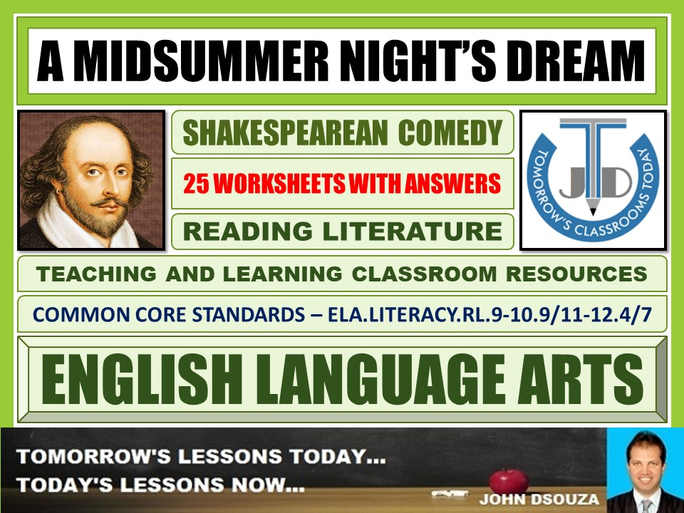 A MIDSUMMER NIGHT'S DREAM - SHAKESPEAREAN COMEDY - 25 WORKSHEETS WITH ANSWERS