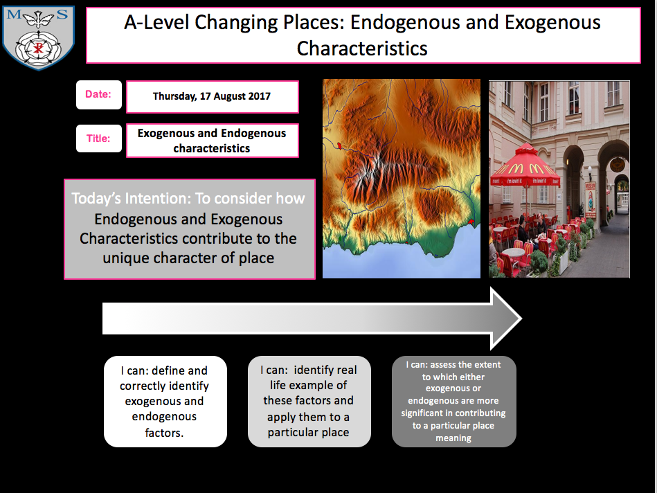 Changing Places Lesson 5- Endogenous/Exogenous Factors
