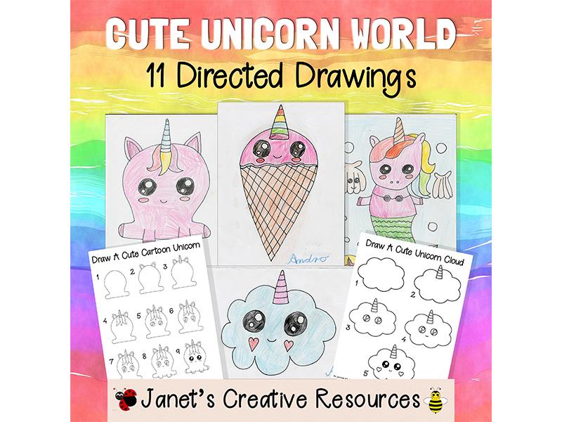 Cute Unicorn World Directed Drawing