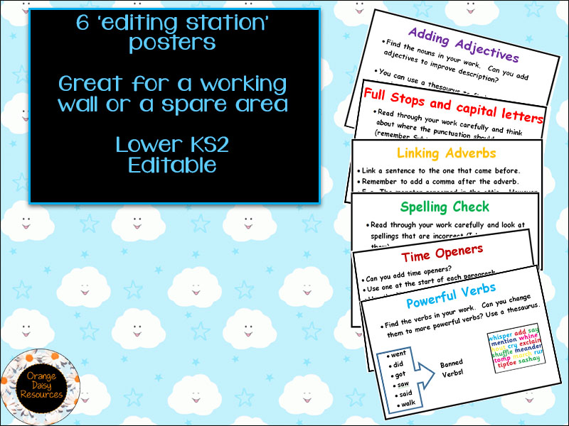 6 Editing Station Writing Posters - Lower KS2