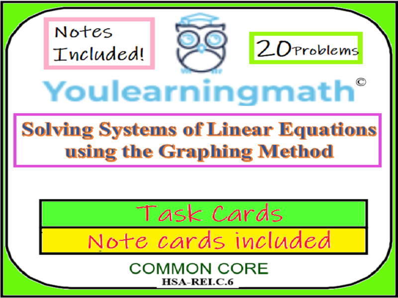 Solving Systems of Linear Equations by Graphing: 20 Task Cards +Topic Notes Included