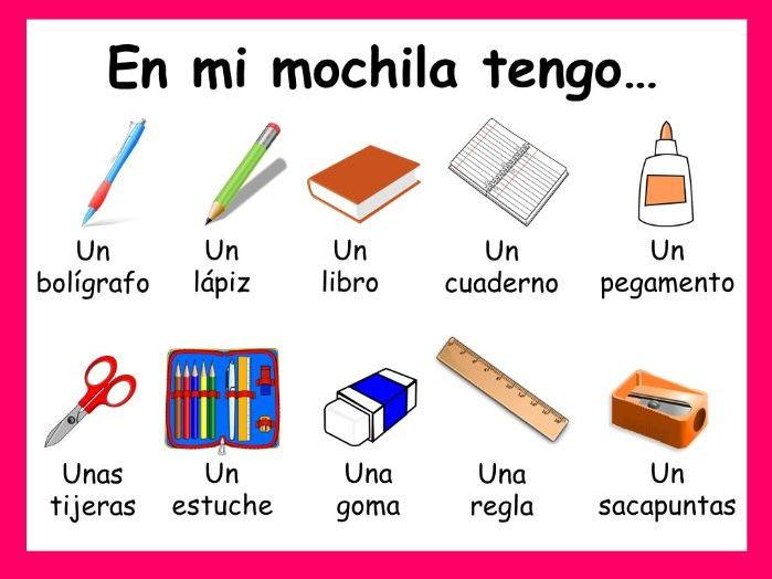 School items / En mi mochila