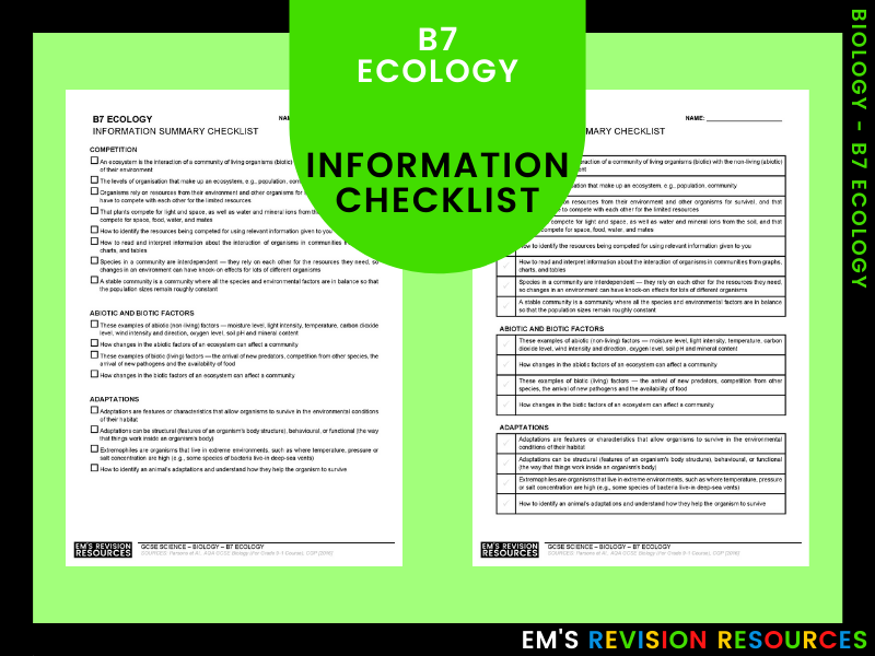 B7 Ecology [Information Checklist]