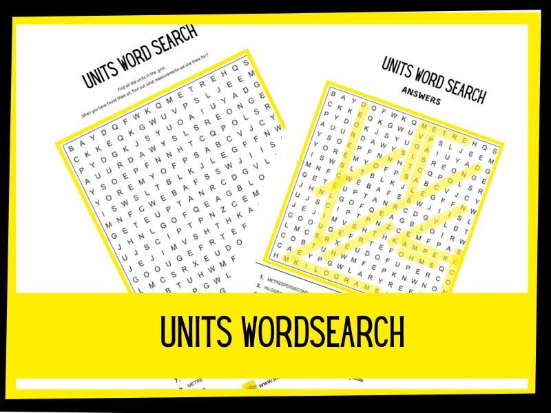 Units wordsearch   KS2 KS1 Science