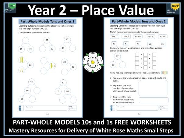 Year 2 Place Value:  Part-Whole Models - 10s and 1s - FREE Worksheets