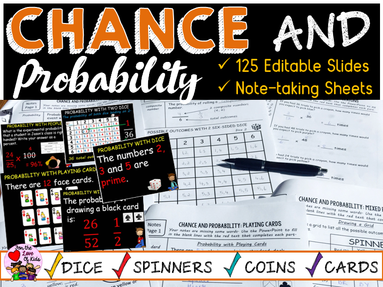 CHANCE AND PROBABILITY BUNDLE: EDITABLE SLIDES:SHEETS: TASK CARDS