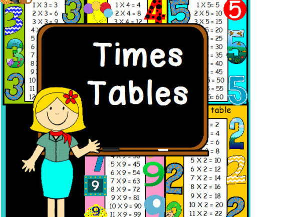 1 to 12 TIMES TABLE PRIME NUMBERS SQUARE MULTIPLICATION MATHS