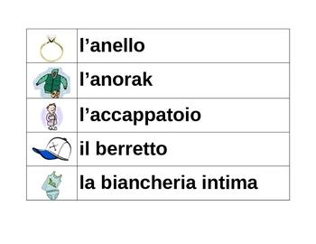 Vestiti (Clothing in Italian) word wall