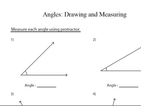 drawing and measuring angles maths worksheet