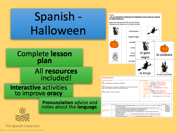 Halloween in Spanish Complete Lesson Plan and Resources