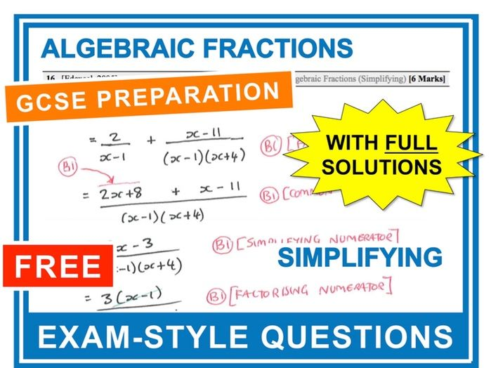 GCSE 9-1 Exam Question Practice (Algebraic Fractions - Simplifying)