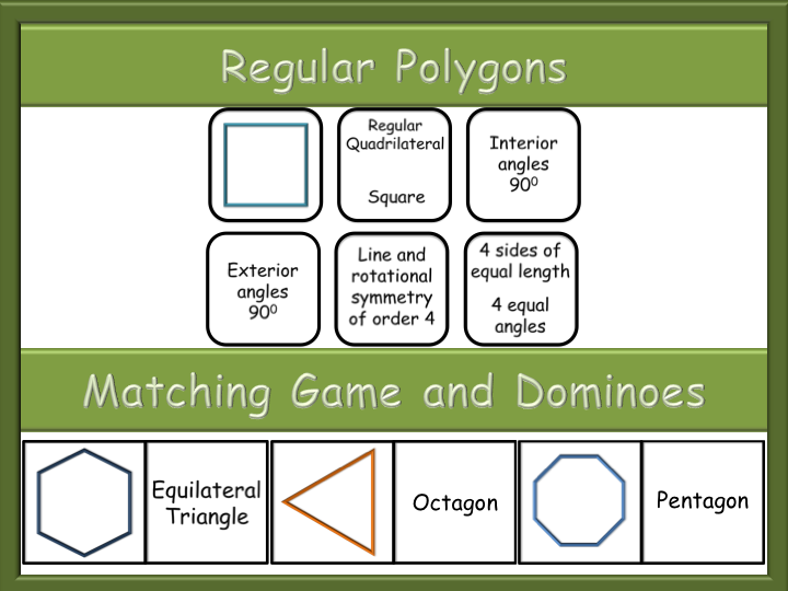 Regular Polygons -  Matching game - Dominoes