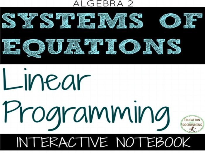 Linear Programming Color Coded Interactive Notebook