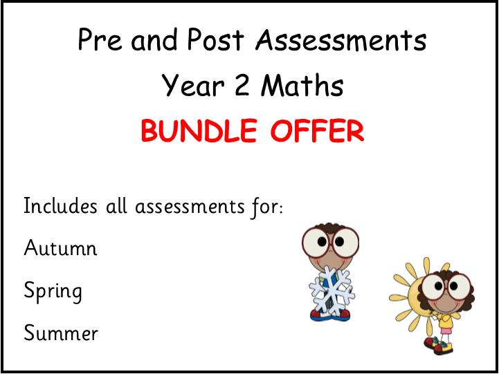 Pre and Post Assessments Year 2 Maths BUNDLE OFFER