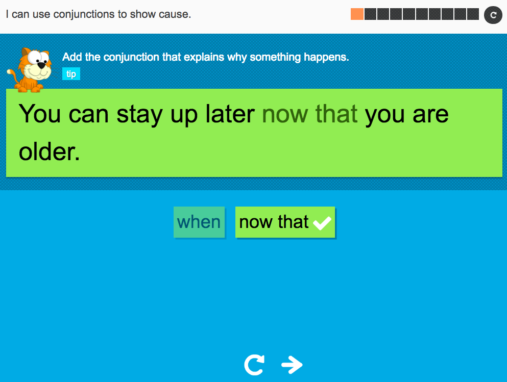 I can use conjunctions to show cause - Interactive Activity - Year 3 Spag