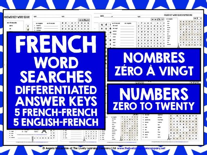 PRIMARY FRENCH NUMBERS 0-20 WORD SEARCHES