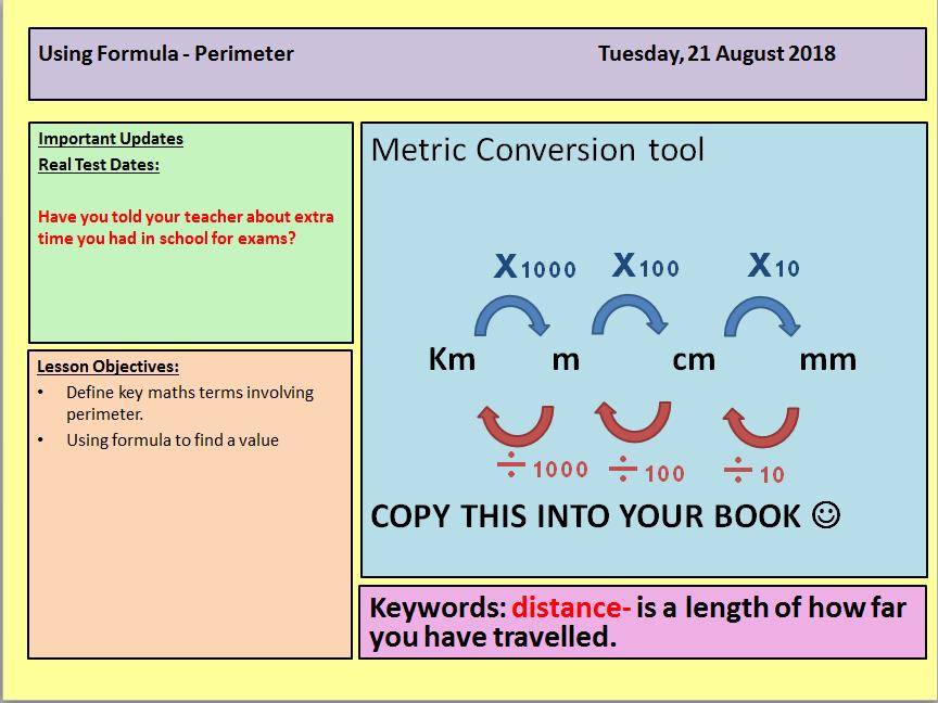 Perimeter Lesson Functional Skills maths