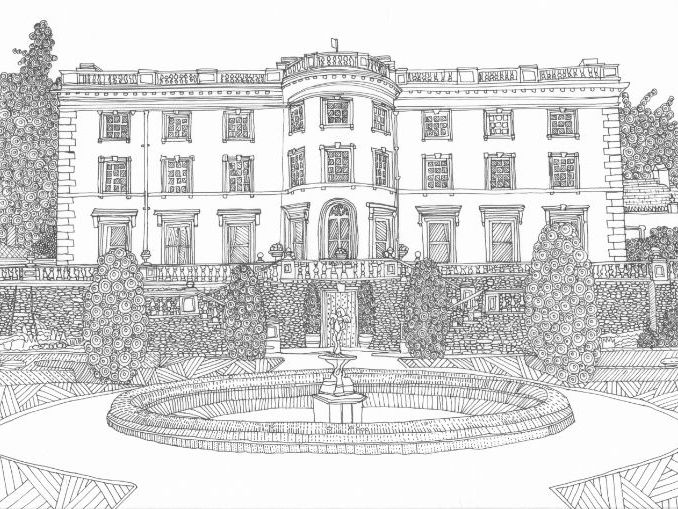 Rydal Hall, Lake District Colouring Page