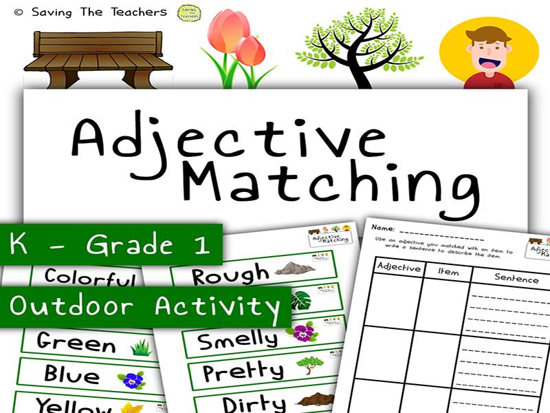 Outdoor Adjective Tag Activity - Descriptive Writing - Reading