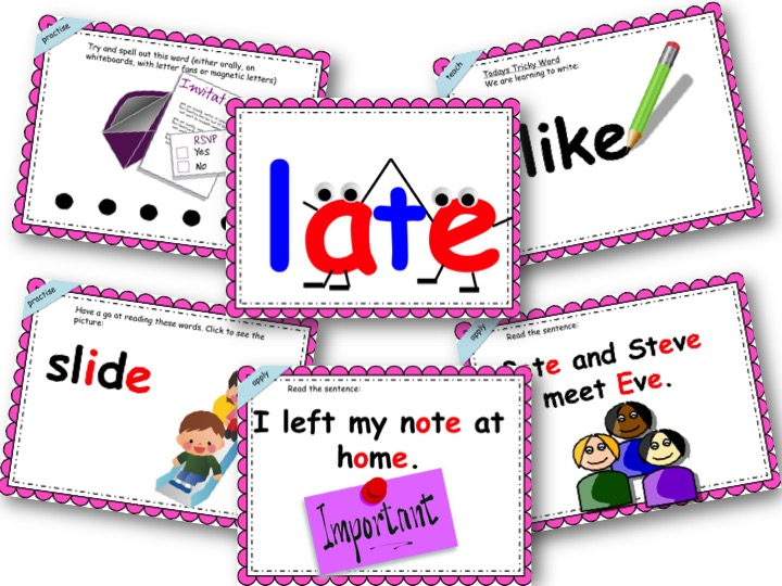 Phonics Powerpoint, Phase 5, Week 2 (split vowel digraphs: a-e, e-e, i-e, o-e, u-e)