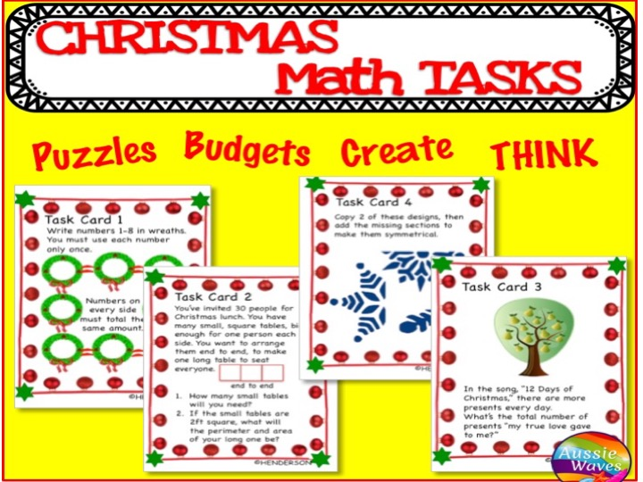 CHRISTMAS MATHS Activities Task Cards MATHS Centres PUZZLES WORD PROBLEMS SET 1