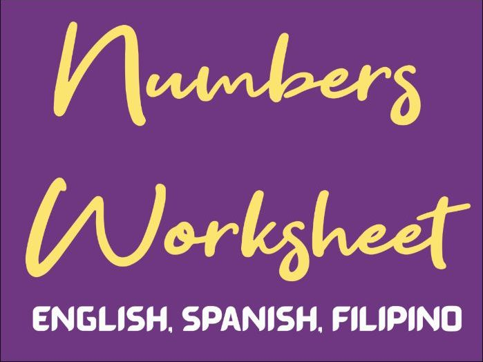Free Writing Numbers Worksheet in English, Spanish and Filipino