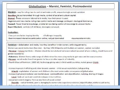 A-Level Sociology ( OCR) - Globalisation Revision Posters