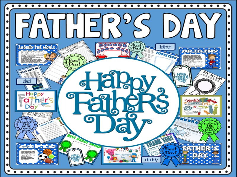 FATHER'S DAY TEACHING RESOURCES EYFS KS1-2 CELEBRATIONS TRADITIONS DAD DADDY