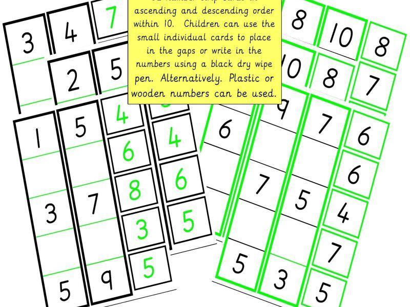 Vertical Number Order to 10