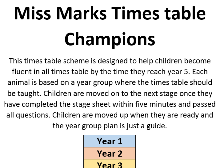 Times table champions whole school scheme of work