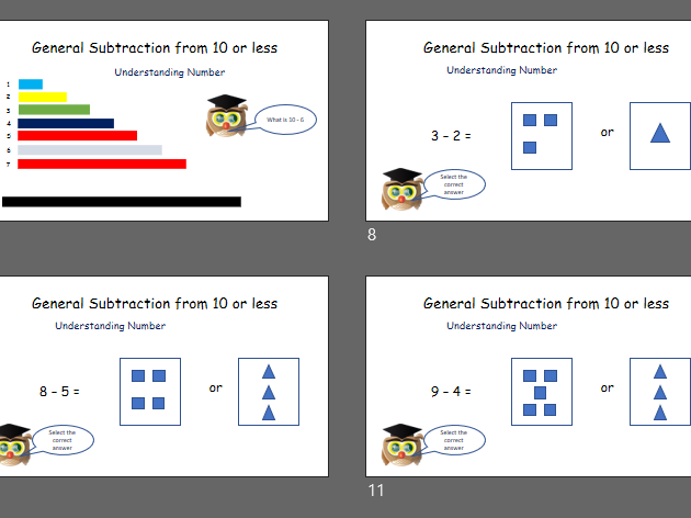 Dyslexia and Dyscalculia Friendly - General Subtraction from 10: Understanding Number