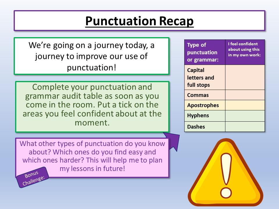Creative Writing Punctuation