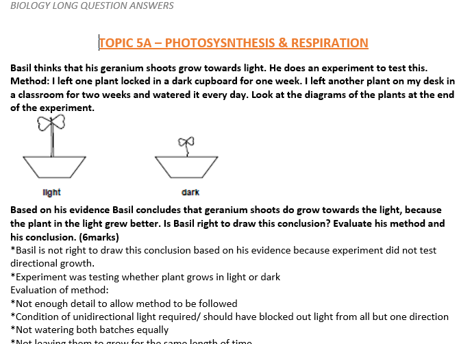 A-level Biology extended questions bank