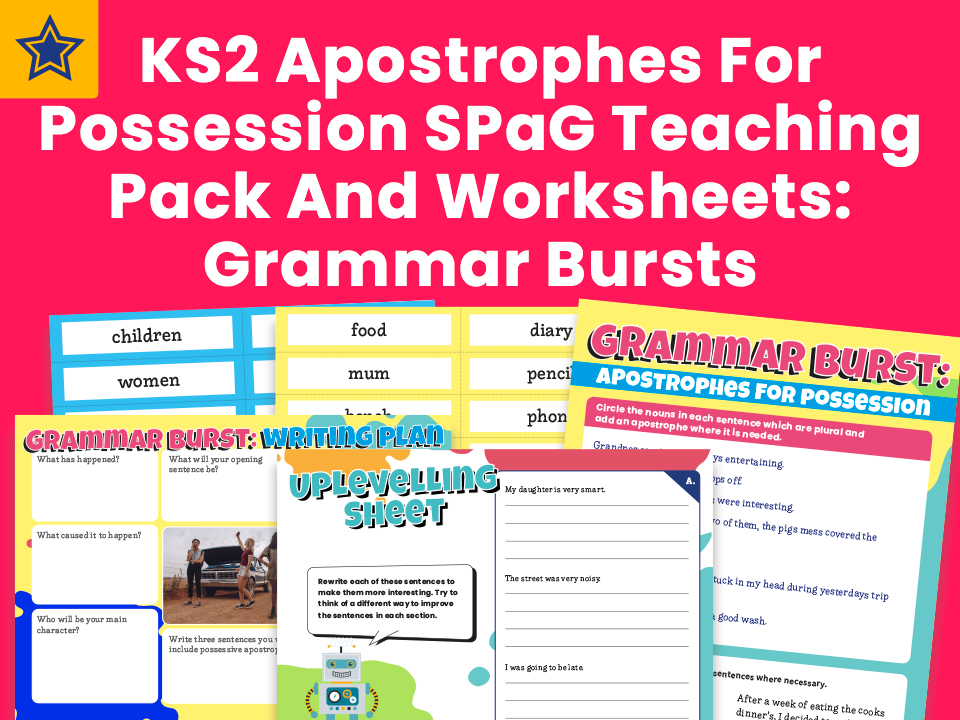 KS2 Apostrophes For Possession SPaG Teaching Pack And Worksheets: Grammar Bursts