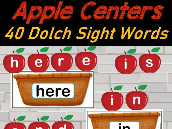 Apple Literacy Centers Sight Words for September  First 40 Dolch Sight Words