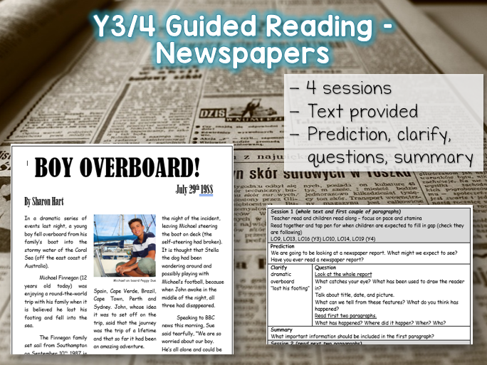 Y3/4 Guided Reading - Newspapers - 4 sessions