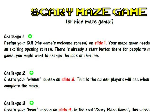 End of Term / Secondary Induction FUN Lesson - Create a PowerPoint Maze Game (Scary or Nice)!