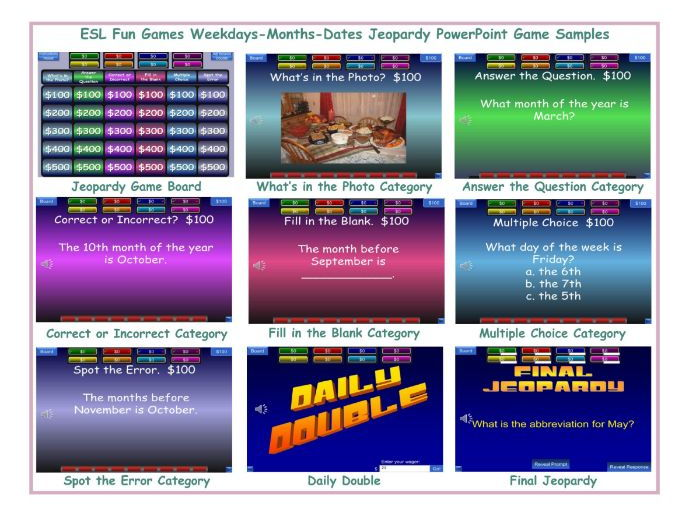 Weekdays-Months-Dates Jeopardy PowerPoint Game