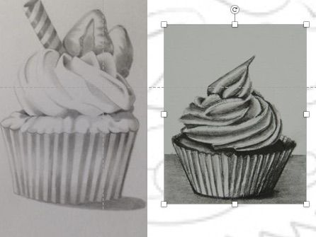 Modern Movements project lesson 2 Learning to draw - cupcakes -tonal shading and link to Realism