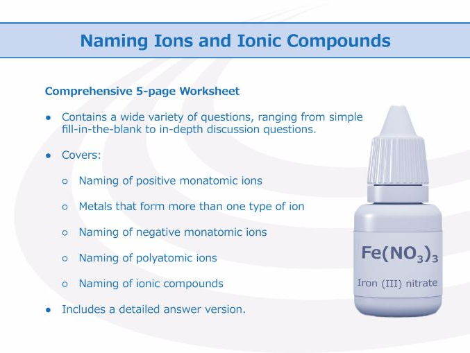Naming Ions and Ionic Compounds Worksheet by – Ions Worksheet
