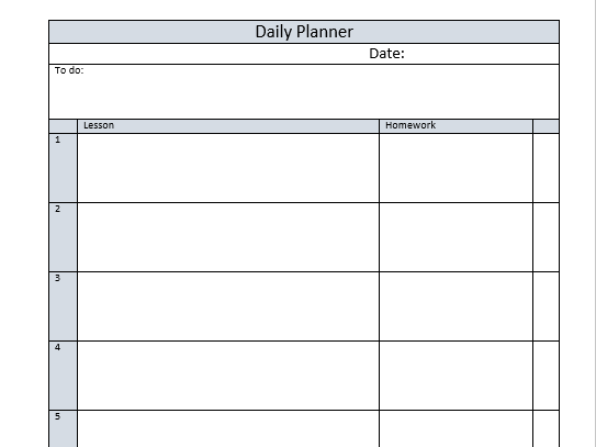 Teacher Planner Page with 6 lessons