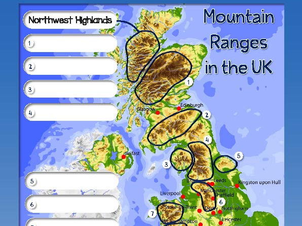 Identifying mountain ranges on a map (Complete lesson)