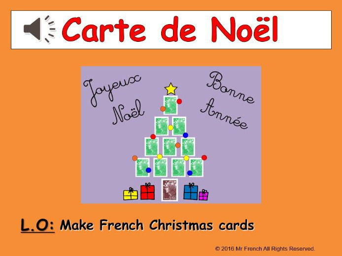 Carte de Noël ( French Christmas card) Y3 (2nd Grade) and beyond