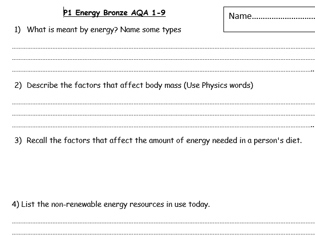 P1 Physics revision booklet covering energy aqa 9-1