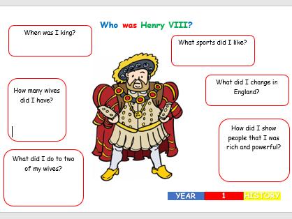 KS1  History - Who was Henry VIII Worksheet