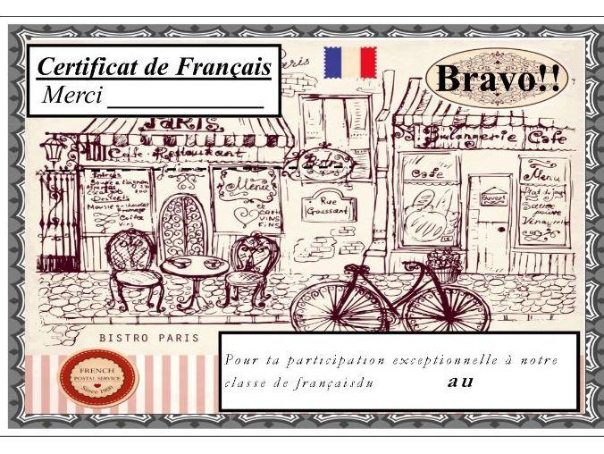 General French certificate 20/ Certificat de francais 20