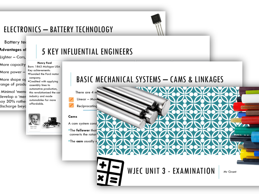 WJEC Engineering Unit 3 Exam resources.